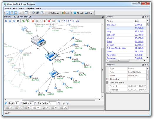 GraphVu Disk Space Analyzer 32bit