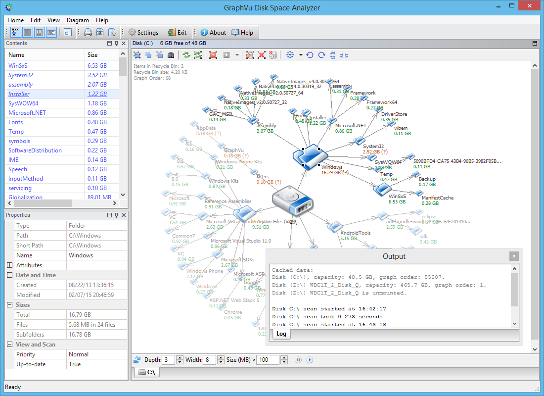 GraphVu Disk Space Analyzer full screenshot